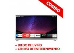 """COMBO LED SMART 55"""" SHARP + JUEGO DE LIVING AIMARETTI + CENTRO DE ENTRETENIMIENTO REPROEX"""
