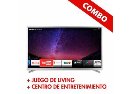"""COMBO LED 40"""" PIONEER HD + JUEGO DE LIVING AIMARETTI + CENTRO DE ENTRETENIMIENTO REPROEX"""