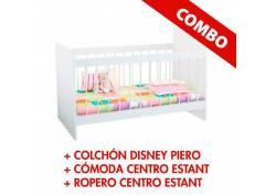 COMBO CUNA + COMODA + ROPERO CENTRO ESTANT + COLCHON PIERO DISNEY
