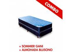 COMBO COLCHON Y SOMMIER GANI + ALMOHADA BLUSONO